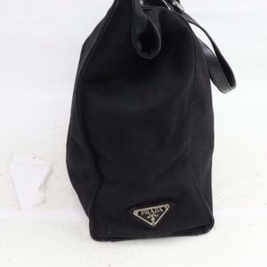 Prada Black Canvas Tote Shoulder Bag